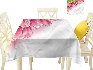 WilliamsDecor Square Tablecloth Tulip,Fresh Spring Season Flora Dining Table Cover W 50