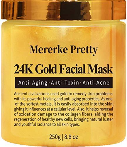 Mererke_Pretty 24K Gold Facial Mask Anti Aging Care Anti Wrinkle Anti Toxin Anti Acne-8.8 oz