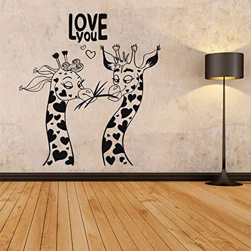 Hetingyue Wandstickers Dieren Liefde voor het eerste blik Humor Giraffe Wand Art Afneembare wanddecoratie