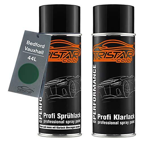 TRISTARcolor Autolack Spraydosen Set für Bedford/Vauxhall 44L Forest Green Basislack Klarlack Sprühdose 400ml