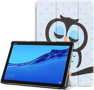 The owl PU Leather Case Cover 10.1 Inch Slim Print Smart Tablet PC Funda For Huawei MediaPad M5 Lite 10 Shockproof Skin