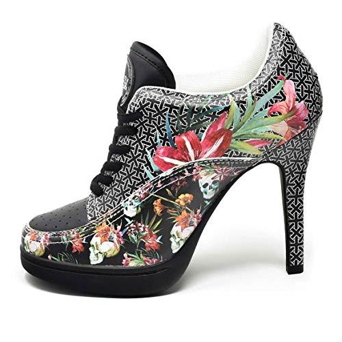 MISSY ROCKZ DEATHHEAD Black Bequeme High Heels, Größe: EU 35 / UK 3 / US 5, Absatz: 10.5 cm