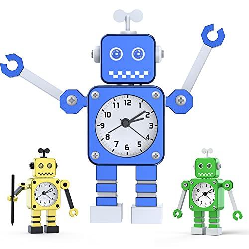 Kinderwecker Jungen, Roboter Wecker Kinder Analoge Wecker Ohne Ticken Lautloser Wecker für Jungs Mädchen Jungen (Blau)