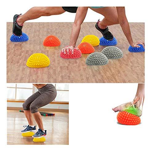 Balock Schuhe Massageball - 2019 Neu PVC Fußmassage Halbe Runde Stacheliger Ball Fuss Igelball Massage Therapieball Akupressur Ball Stressabbau für Kinder und Erwachsene - 6.69 × 3.35 Zoll (Silber)