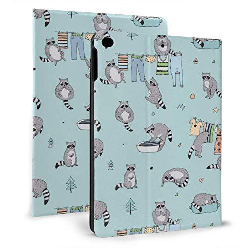 N\A Cute iPad Case Cute Cartoon Raccoon iPad Cover Kids para iPad Mini 4 / Mini 5/2018 6th / 2017 5th / Air/Air 2 con Auto Wake/Sleep Magnetic Kid Proof iPad Case