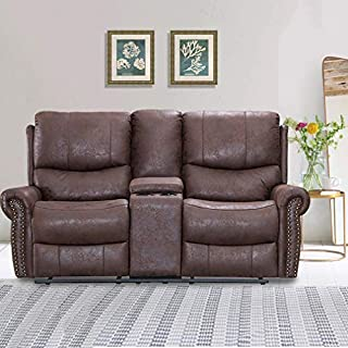Recliner Sofa Love Seat Reclining Couch Sofa Palomino Fabric Loveseat Home Theater Seating Manual Recliner Motion for Living Room
