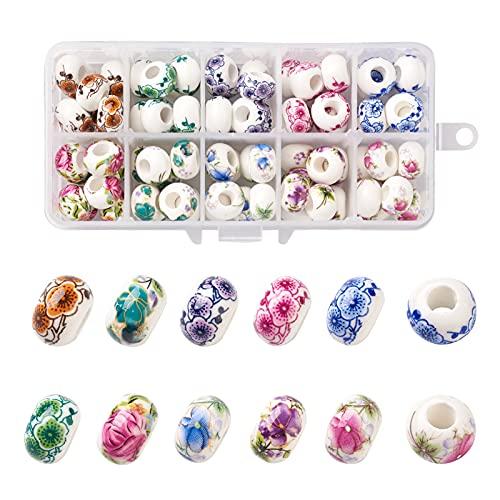Fashewelry 80pcs Cuentas de porcelana europea hechas a mano 10 colores Rondelle Gran agujero Patrón de flor Perlas de cerámica para la fabricación de collar de pulsera europea