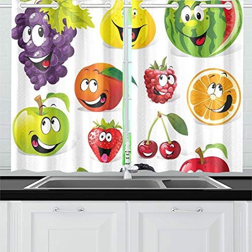 JOCHUAN Dibujos Animados de Frutas Divertidas aisladas en Blanco Cortinas de la Cocina Cortinas de Ventana Niveles para cafetería, baño, lavandería, Sala de Estar Dormitorio 26X39 Pulgadas 2 Piezas