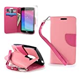 CoverON for LG Power Destiny Sunset Wallet Case [Carryall Series] Flip Credit Card Phone Cover Pouch with Screen Protector and Wristlet Strap - Light Pink & Hot Pink