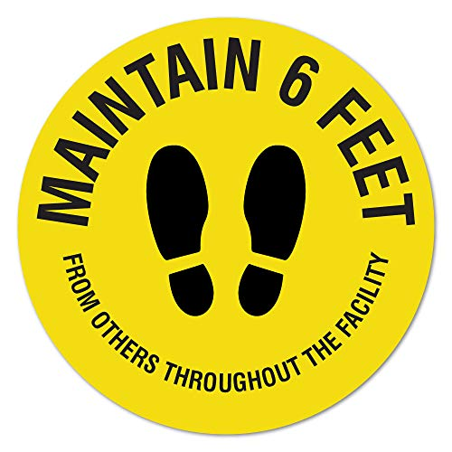 SIgnMission Coronavirus Maintain 6 Feet Non-Slip Floor Graphic | 6 Pack of 7' Vinyl Decal | Protect Your Business, Work Place & Customers | Made in The USA, Model Number: FD-C-7-6PK-99988