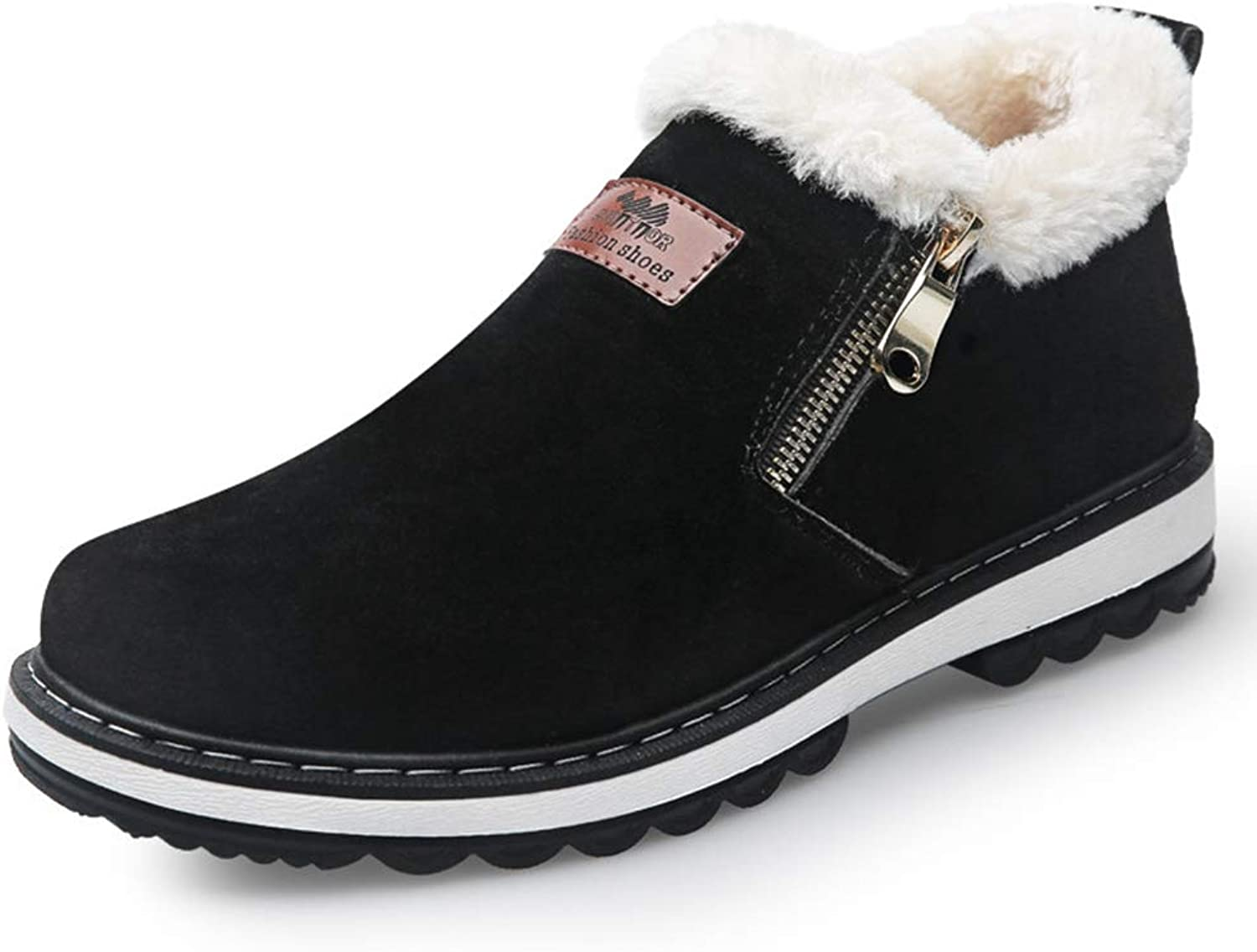 Men Winter Warm shoes Faux Fur Lined Short Ankle Boots Side Zip Comfort Flats Slip On Booties