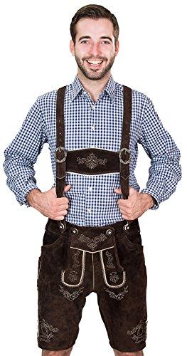 Bayerische Herren Trachten Lederhose kurz, Trachtenlederhose mit Trägern, original in Dunkelbraun, Oktoberfest, Größe 54