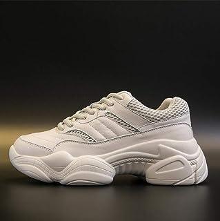 XL_nsxiezi Calzado Deportivo de Primavera de Mujer Zapatos Gruesos Blancos.