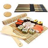 Tappetino sushi,Tappetino per sushi per principianti,Per sushi in bambù set,sushi kit completo,kit sushi,2 vassoi da portata, 1 spargiriso, 1 pagaia, 2 tappetini a rullo, 5 paia di bacchette (A)