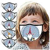 SALUCIA 5 Stück Kinder Mundschutz Multifunktionstuch Weihnachten Druck Maske Atmungsaktive Baumwolle Stoffmaske Waschbar Mund-Nasenschutz Tiermotiv Bandana Halstuch Jungen Mädchen
