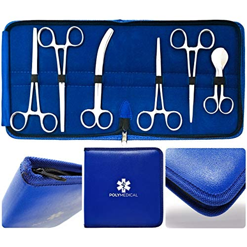 Veterinarian Student's Umbilical Cord Scissor Kit - 7 Pieces Total. High Grade Stainless Steel Instruments Perfect for Anatomy, Biology and Veterinary Students - by Poly Medical.