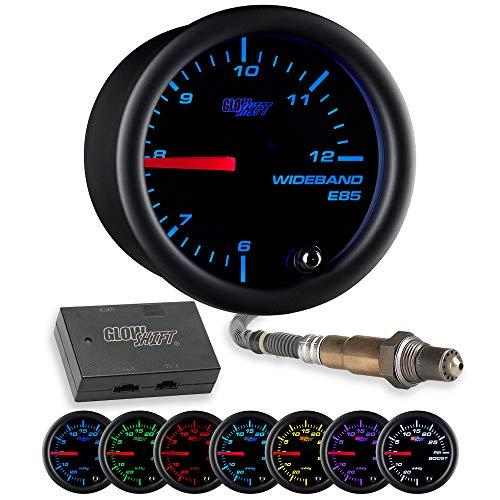 GlowShift Black 7 Color Analog E85 Wideband Air/Fuel Ratio AFR Gauge - Includes Oxygen Sensor, Data Logging Output & Weld-in Bung - Black Dial - Clear Lens - 2-1/16' 52mm