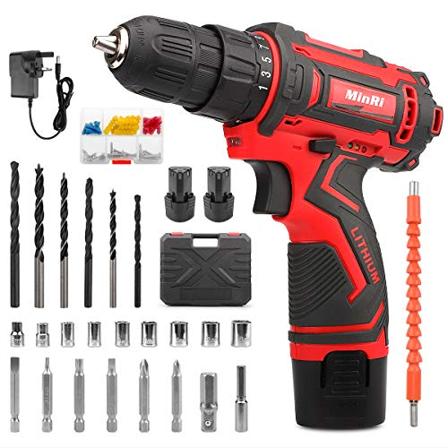 MinRi Electric Screw Driver, 12V Cordless Drill Driver, 30PCS Variable Speed Multifunctional Rechargeable Powerful Screwdrivers Set with 1500mAh Li-ion Dual Battery for Home DIY (UK-Plug)
