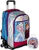 Mochila escolar Frozen 2 Burdeos Anna Elsa Reina de los Hielos, 3 ruedas con muñeca incluida + llave...