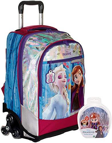 TROLLEY ZAINO SCUOLA Frozen 2 Bordeaux Anna Elsa regina dei ghiacci 3 RUOTE con bambolina inclusa + omaggio portachiave girabrilla + omaggio 10 penne glitterate