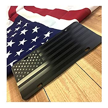 Almost Invisible Hidden American Flag License Plate Matte Black on 1/8  Black Aluminum Composite Heavy Duty Tactical USA Car Tag