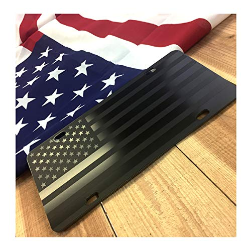 Almost Invisible Hidden American Flag License Plate Matte Black on 1/8' Black Aluminum Composite Heavy Duty Tactical USA Car Tag