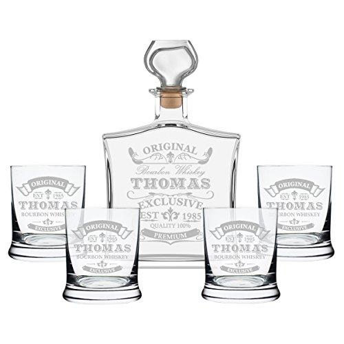 Coffret cadeau avec carafe pour whisky et verres à whisky avec gravure, Verre, Transparent, 1 Flasche + 4 Gläser