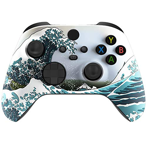 eXtremeRate The Great Wave Soft Touch Front Housing Shell Faceplate for Xbox Series X and Xbox Series S Controller Custom Accessories - Controller NOT Included
