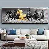 ganlanshu Pintura sin Marco Seis Corriendo Animales de Caballo Negro y Dorado en el Lienzo póster Sala de Estar muralZGQ3558 20X60cm