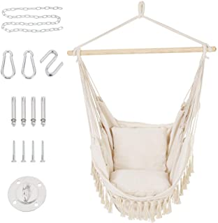 Patio Watcher Oversized Hammock Chair Hanging Rope Swing Seat with 2 Cushions and Hardware Kits, Perfect for Indoor, Outdo...