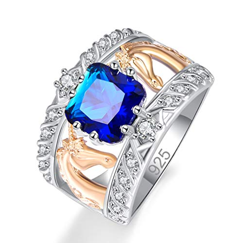 Psiroy 925 Sterling Silver Created Blue Sapphire Quartz Filled Cushion Cut Two Tone Unicorn Wide Band Ring for Women Size 7