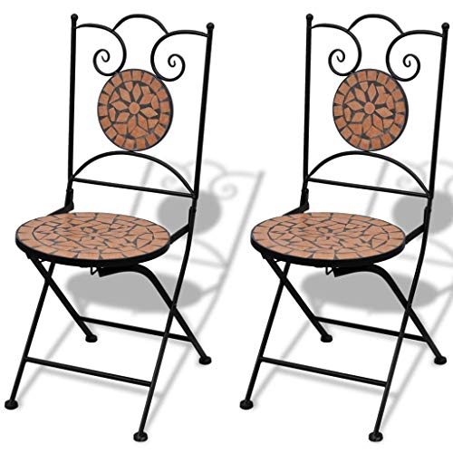 Outdoor Mosaic Bistro Table Set Patio Pub Dining Folding Chair Weather Great for Swimming Pool, parlors, Bedrooms, Balconies, lawns, Backyards, Gardens (2 Chairs A)