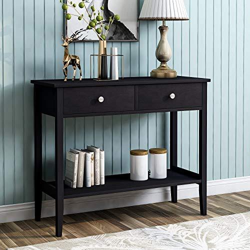 BTM Konsolentisch mit zwei Schubladen, Schreibtisch, PC-Bürotisch mit Beinen aus Kiefernholz für Wohnzimmer, Schlafzimmer, Flur, Arbeitszimmer Schwarz