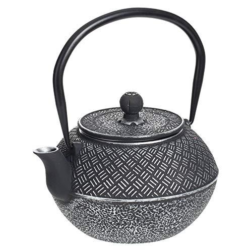 Secret de Gourmet - Théière noire en Fonte décorée avec filtre en Inox contenance 1 L