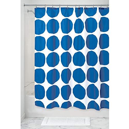 mDesign douchegordijn met stippen patroon, waterbestendig spatbescherming van polyester, badaccessoires voor douche of badkuip, blauw