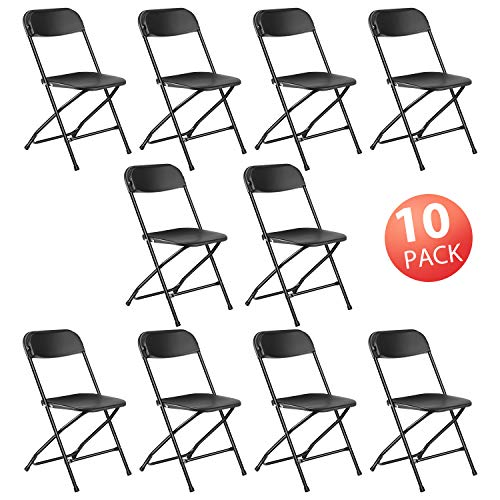 Kealive Folding Chairs 10 Pack 650 lbs Capacity Premium Plastic Folding Chairs Wedding Party Outdoor Indoor Office Ceremony Meeting House Gathering Dinner, Black