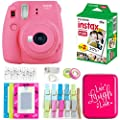 Fujifilm Instax Mini 9 Instant Camera - Flamingo Pink (16550631) + Twin Pack Film (16437396) + Back to School Accessory Kit by FUJIFILM