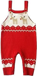 Elogoog Toddler Baby Romper Shoulder Strap Ugly Christmas Reindeer Jumpsuit Knitted Sweater