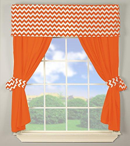 Baby Doll Bedding Chevron Window Valance and Curtain Set, Orange