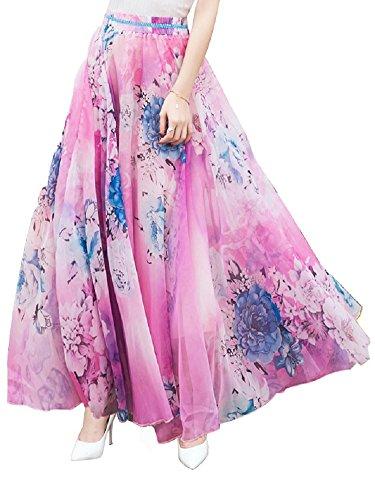 DEBAIJIA Falda Larga Mujer Maxi Bohemia Playa Vacaciones Gasa con Estampado Floral Talla Grande Cintura Elástica Rose - M