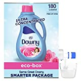 Downy April Fresh Scent, Free of Dyes, Ultra Concentrated, Fabric Softener Liquid Eco-Box, 180 Loads
