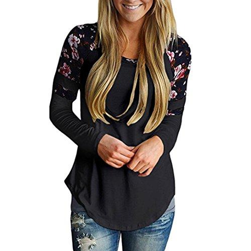 Longra Damen Shirt Langarm Bluseshirt mit Blumendruck Basic Langarmshirt Striped Oberteil Casual Tops Bluse Elegant Lose Frühling Herbst (Black, L)