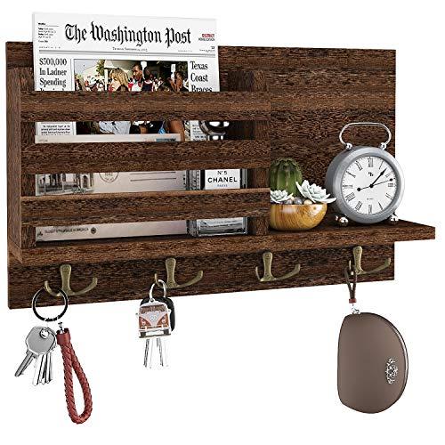 Amada Key Holder Mail Organizer Wall Mount with 4 Double Key Hooks Floating Shelf Rustic Wood Decorative Hanger for Entryway, Storage, Living Room,...