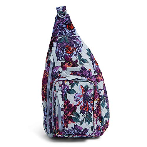Vera Bradley Women's Signature Cotton Sling Backpack, Neon Blooms, One Size