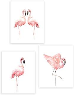 Abstrait Affiche Flamant Rose,Nordique Art Posters Chambre des Filles,Animaux Aquarelle Tableaux Impressions sur Toile Mur...