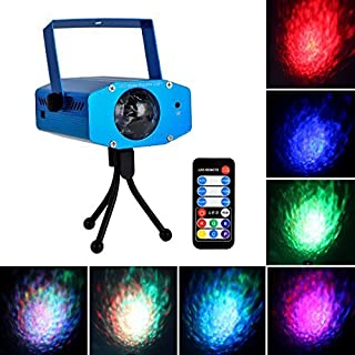 Eyourlife 9W 7 Colors Portable Water Effect Light RGB LED Dj Lights Party Laser Light Projector with Remote Control Strobe Lights for Parties Wedding Disco Club Blue
