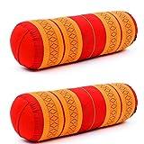Leewadee Set de 2 Yoga bolsters Grandes – Almohadas tailandesas de kapok Natural, Cojines alargados para Pilates, 65 x 25 x 25 cm, Set de 2, Naranjo Rojo