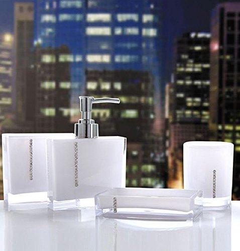 shine 4 Sets Acryl Badezimmer Zubehör Set Diamant besetzt Dekoration Set … (Weiß, Diamant)