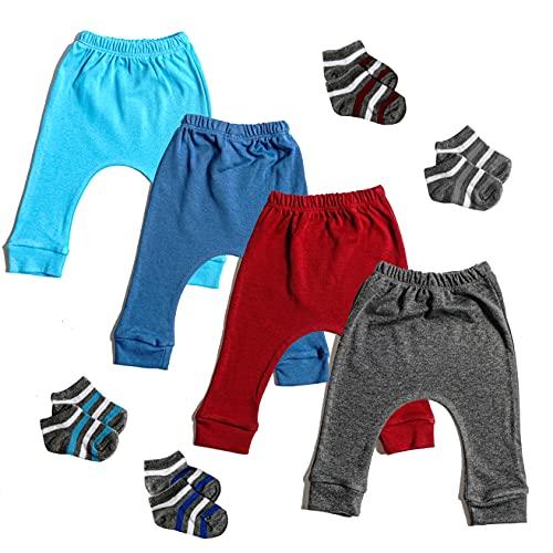 Vona - Juego de 4 pantalones de bebé para niña y niño, 100% algodón, para recién nacido hasta 24 meses, paquete de 4 calcetines de regalo (ajuste ajustado) (0-3 meses, azul,...