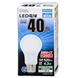 オーム LED電球 一般電球形 E26 40形相当 4.3W 500lm 電球色 全方向タイプ 106mm OHM 密閉器具対応 LDA4L-G-AG5 06-1733